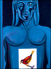Blue Apollo with Red and Yellow Bird